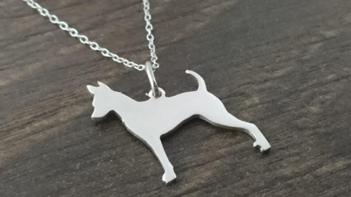minature pincher dog stood pendant sterling silver handmade by saw piercing (1)
